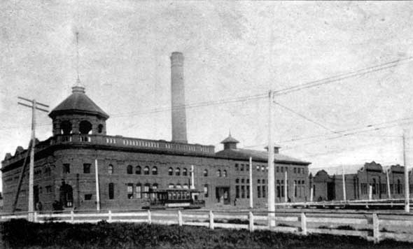 LACE Powerhouse, Shops at right, 1892.
